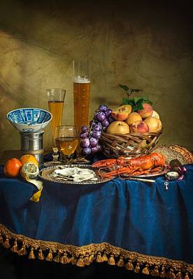 Still Life With Lobster Fruits And Great Salt Art Print
