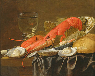 Vine Leaves Photograph - Still Life With Lobster, Shrimp, Roemer, Oysters And Bread Oil On Copper by Christiaan Luykx or Luycks