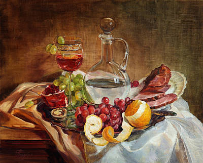 Still Life With Meat And Wine Art Print