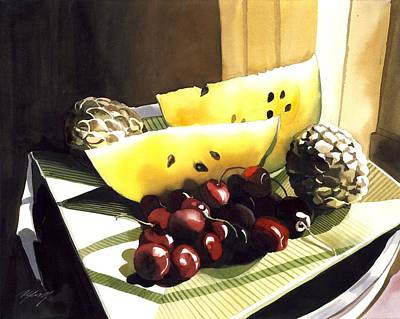 Lif Painting - Still Life With Melon by Alfred Ng