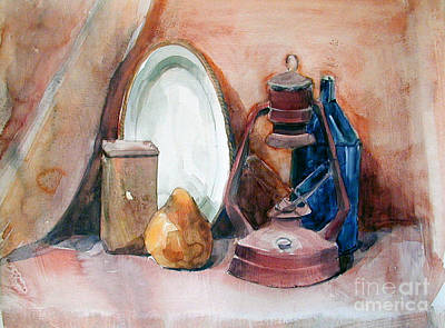 Painting - Watercolor Still Life With Rustic, Old Miners Lamp by Greta Corens