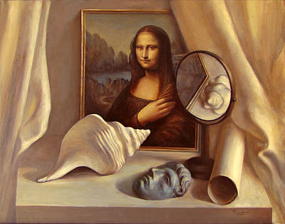 Bronze Mask Painting - Still Life With Mirror And Shell by Felix Freudzon