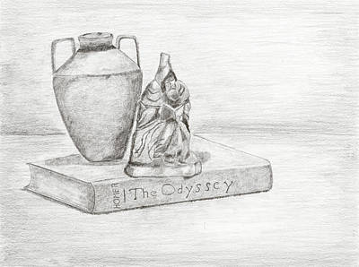 Still Life Drawings - Still Life with Monk by Carmela Cattuti