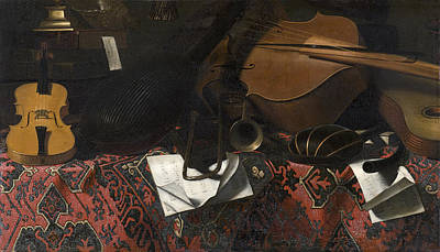Still Life With Musical Instruments Art Print by Celestial Images