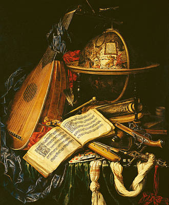 Still Life With Musical Instruments Oil On Canvas Art Print by Flemish School
