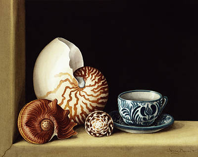 Windowsill Painting - Still Life With Nautilus by Jenny Barron