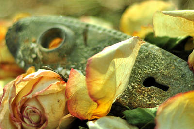 Photograph - Still Life With Old Yellow Roses by Rebecca Sherman