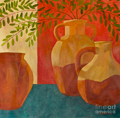 Still Life With Olive Branches I Art Print