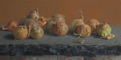 Painting - Still Life With Onions  by Ben Rikken