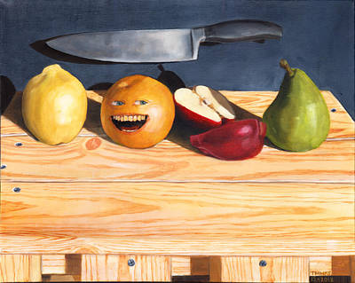 Pop Surrealism Painting - Still Life With Orange No. 2 by Thomas Weeks