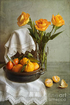 Still Life With Oranges Art Print by Elena Nosyreva