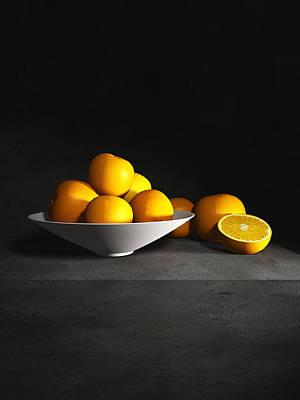 Still Life Digital Art - Still Life With Oranges Vertical by Cynthia Decker