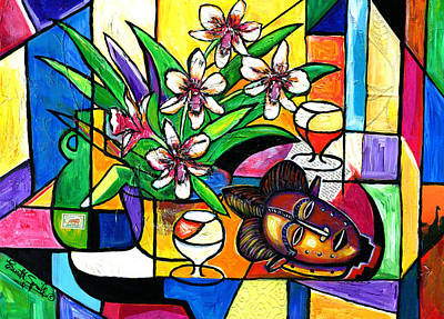 Museum Mixed Media Mixed Media - Still Life With Orchids And African Mask by Everett Spruill