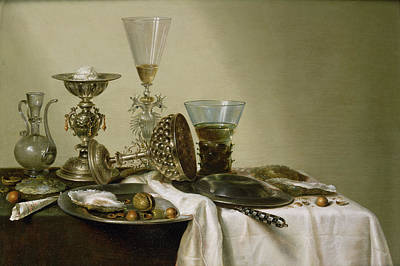 Still Life With Oysters And Nuts, 1637 Oil On Panel Art Print by Willem Claesz. Heda