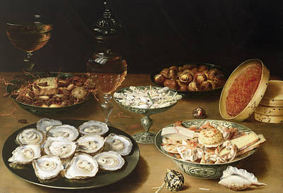 Quince Painting - Still Life With Oysters by Osias the Elder Beert
