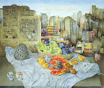 Annona Photograph - Still Life With Papaya And Cityscape, 2000 Oil On Canvas by James Reeve
