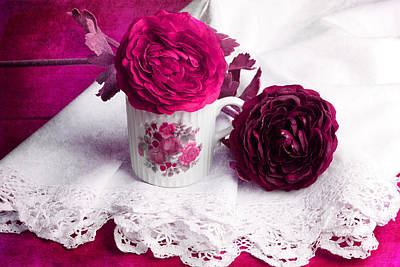 Still Life With Paper Flowers Art Print by Angela Bruno