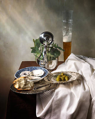 Still Life With Pass Glass-silverware-oysters And Olives Art Print by Levin Rodriguez