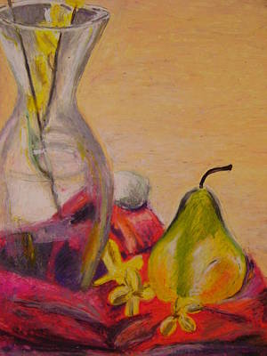 Pastel - Still Life With Pear 2014  by Therese Legere