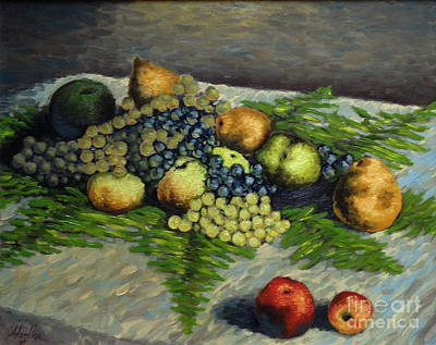 Still Life With Pears And Grapes Art Print