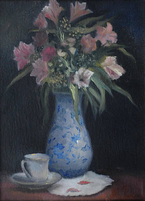 Art Print featuring the painting Still Life With Pink Flowers by Alla Parsons