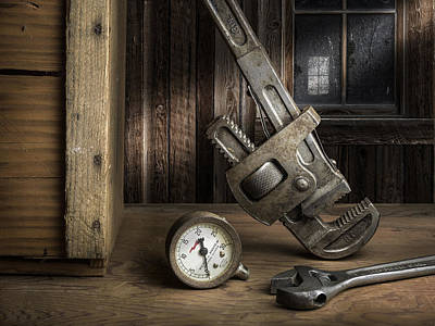 Still Life Photograph - Still Life With Pipe Wrench by Michael Levy