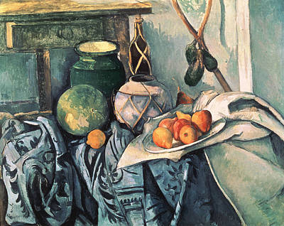Quince Photograph - Still Life With Pitcher And Aubergines Oil On Canvas by Paul Cezanne