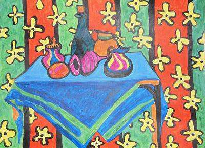 Painting - Still Life With Pitchers Au Matisse by Esther Newman-Cohen