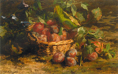 Still Life With Plums In A Basket Art Print