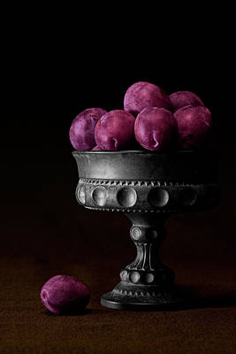 Low-key Photograph - Still Life With Plums by Tom Mc Nemar