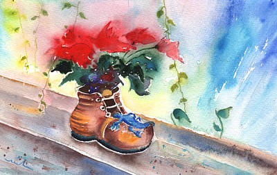 Still Life With Poinsettia And Shoe Art Print by Miki De Goodaboom
