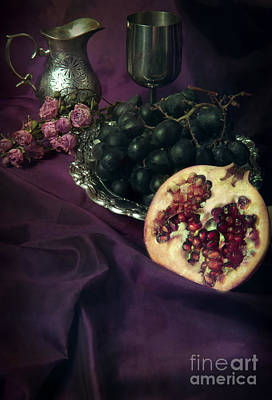 Blue Grapes Photograph - Still Life With Pomegranate And Dark Grapes by Jaroslaw Blaminsky