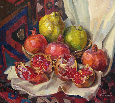 Quince Painting - Still Life With Pomegranates And Quinces by Meruzhan Khachatryan