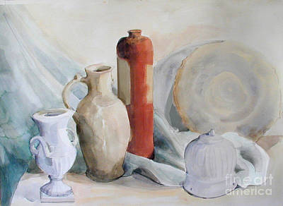 Painting - Watercolor Still Life With Pottery And Stone by Greta Corens