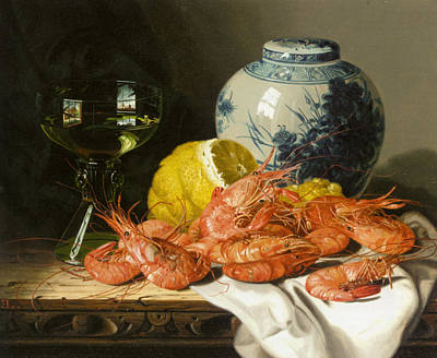 Still Life With Prawns And Lemon Print by Edward Ladell