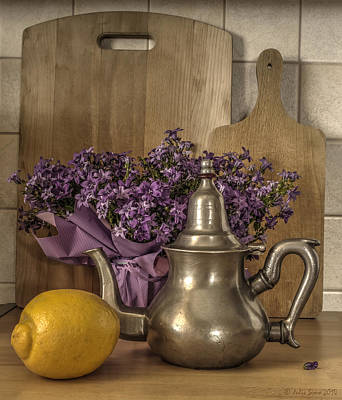 Still Life With Purple Flowers And Citron Art Print