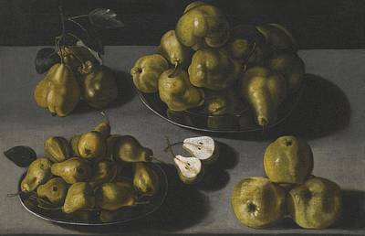 Still Life With Quinces And Pears Arranged On A Stone Table Top Art Print by Celestial Images