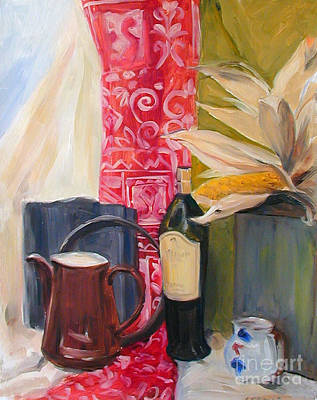 Painting - Oil Painting Still Life With Red Cloth And Pottery by Greta Corens