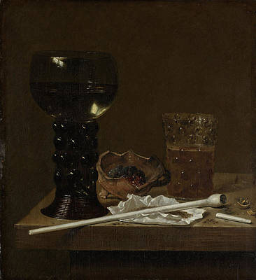 Still Life With Roemer, Beer Glass And A Pipe Art Print by Litz Collection