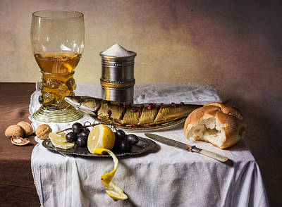 Still Life With Roemer-great Salt-fish And Bread Art Print by Levin Rodriguez