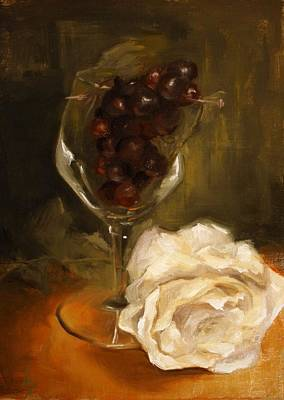 Wine Glass Painting - Still Life With Rose by Alison Schmidt Carson