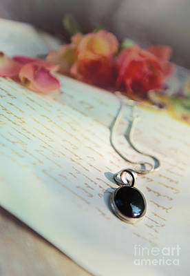 Long Chain Photograph - Still Life With Roses And A Black Pendant by Jaroslaw Blaminsky