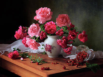 Red Rose Wall Art - Photograph - Still Life With Roses And Berries by ??????????? ??????????