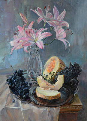 Painting - Still Life With Roses And Melon by Galina Gladkaya