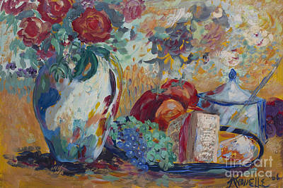 Art Print featuring the painting Still Life With Roses by Avonelle Kelsey