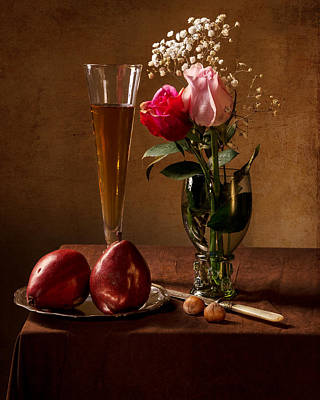 Still Life With Roses In Small Roemer And Two Red Pears Art Print by Levin Rodriguez