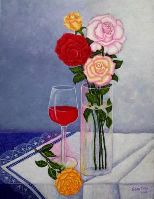 Naturaleza Muerta Painting - Still Life With Roses  by Madalena Lobao-Tello