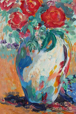 Art Print featuring the painting Still Life With Roses Partial View by Avonelle Kelsey
