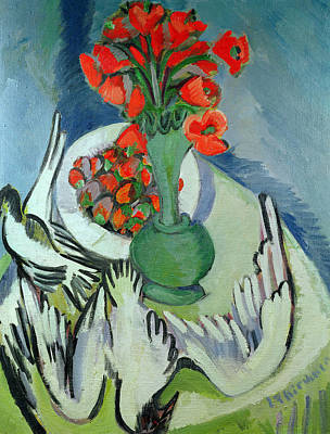 Still Life With Seagulls Poppies And Strawberries Art Print by Ernst Ludwig Kirchner