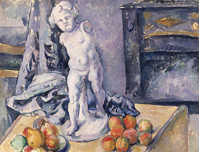 Pears Painting - Still Life With Statuette by Paul Cezanne